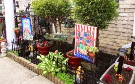 Spring-Flowers-Front-Yard-with-a-touch-of-Patriotism.